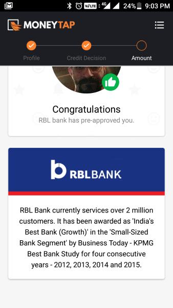 check rbl credit card status